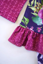 Load image into Gallery viewer, Purple floral ruffle lace tunic pants set