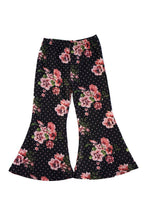 Load image into Gallery viewer, Black floral bell pants
