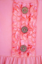 Load image into Gallery viewer, Pink Solid Ruffle girls Dress with Button Accent