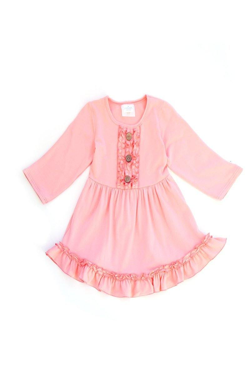 Pink Solid Ruffle girls Dress with Button Accent