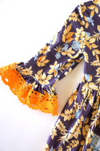 Load image into Gallery viewer, Navy floral orange trim ruffle lace dress