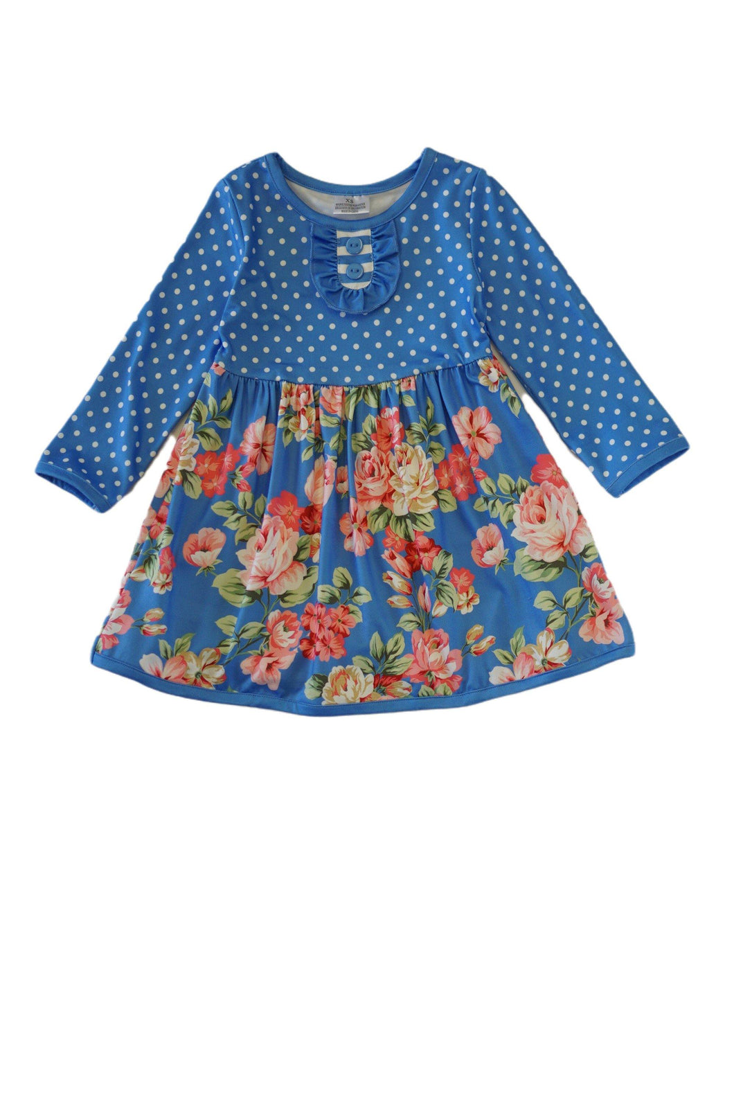 Blue floral polkadot dress