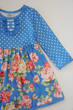 Load image into Gallery viewer, Blue floral polkadot dress