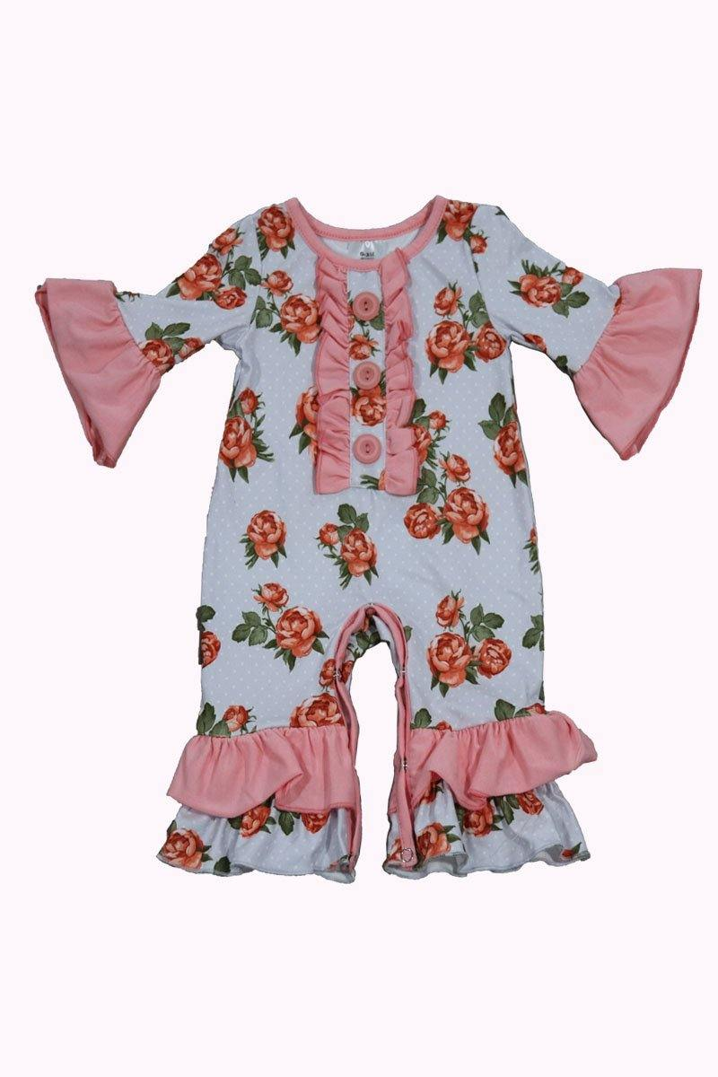 Pink floral baby romper