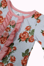 Load image into Gallery viewer, Pink floral baby romper