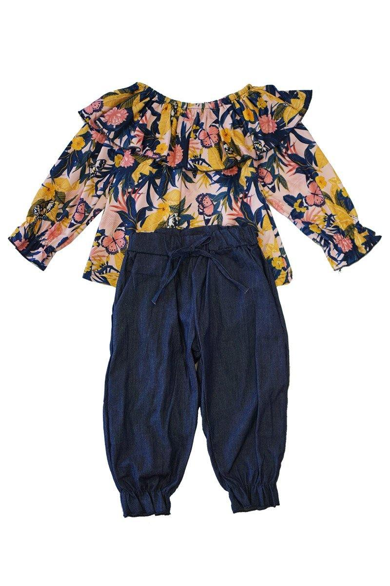 Blue yellow floral ruffle set