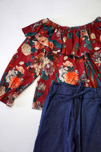 Load image into Gallery viewer, Maroon floral ruffle set