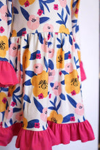 Load image into Gallery viewer, Mustard & hot pink ruffle dress for girls