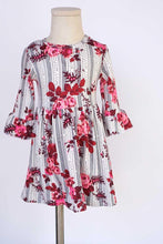 Load image into Gallery viewer, Grey maroon stripe floral ruffle dress
