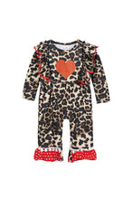 Load image into Gallery viewer, Leopard heart baby romper