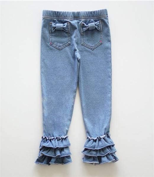Dyeing defect Denim ruffle jegging legging