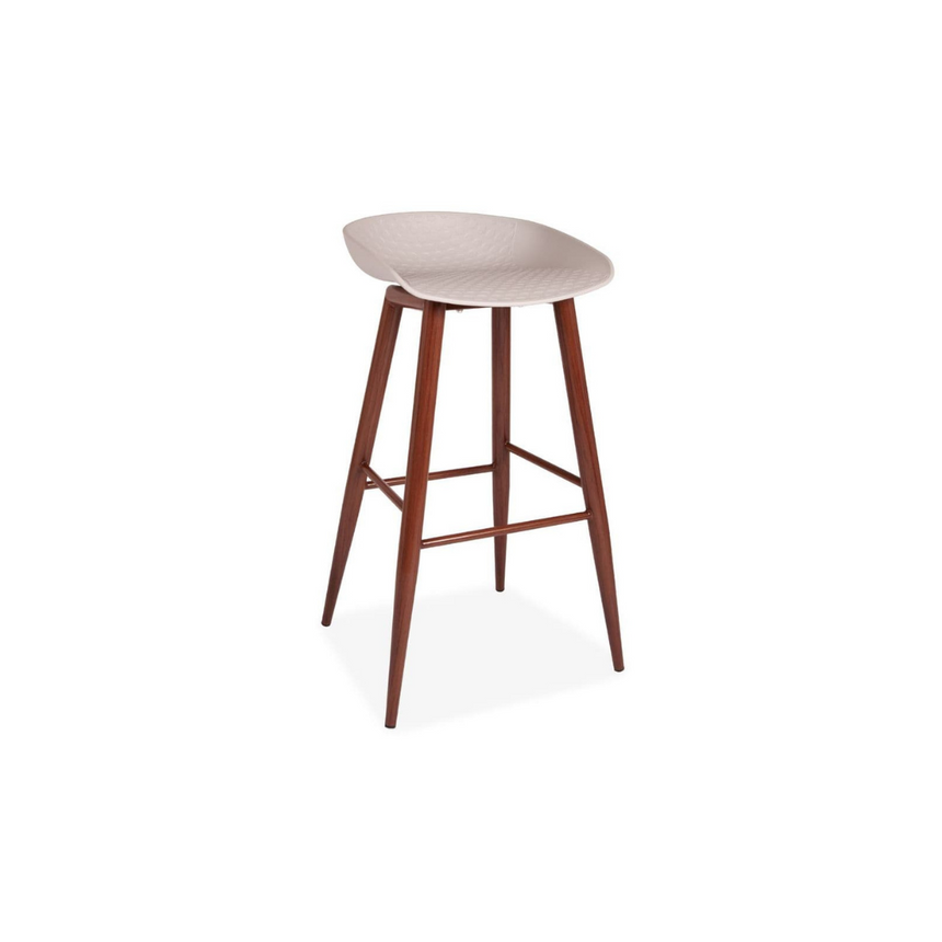 Grey and Walnut Style Bar Stools - Pair