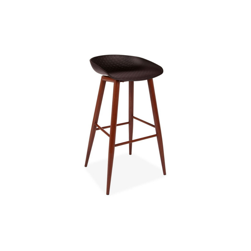 Black and Walnut Style Bar Stools - Pair