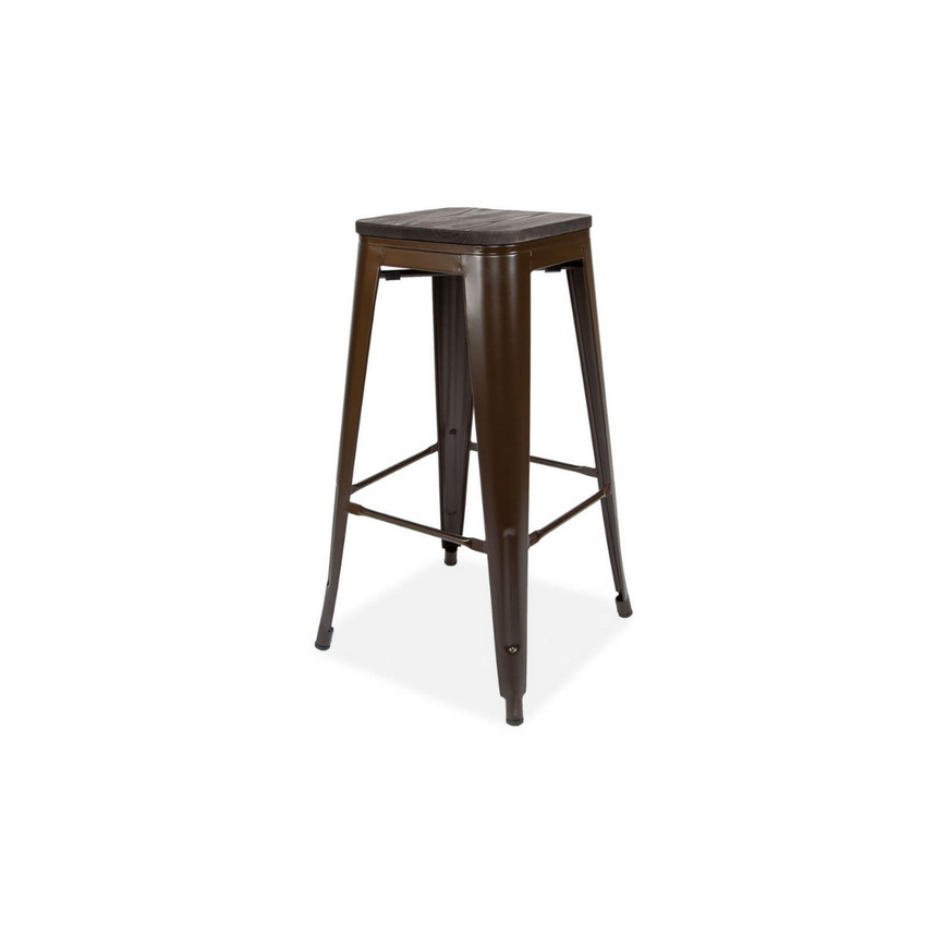 Wood and Metal Stackable Bar Stools - Set of Four