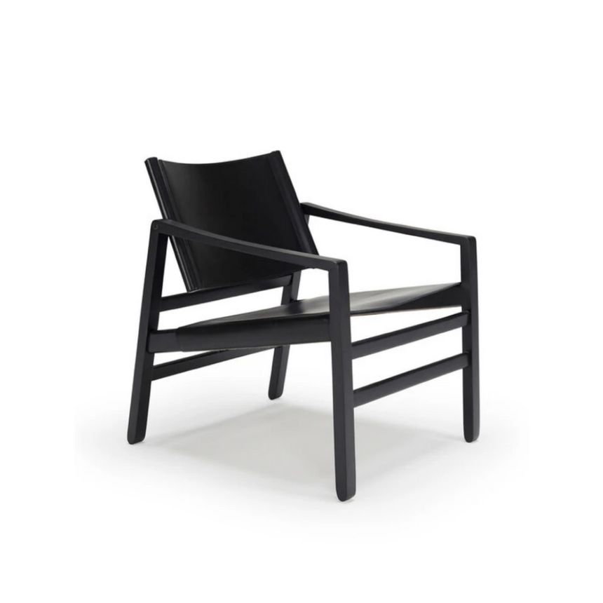Saddle Armchair - Black and Black Leather