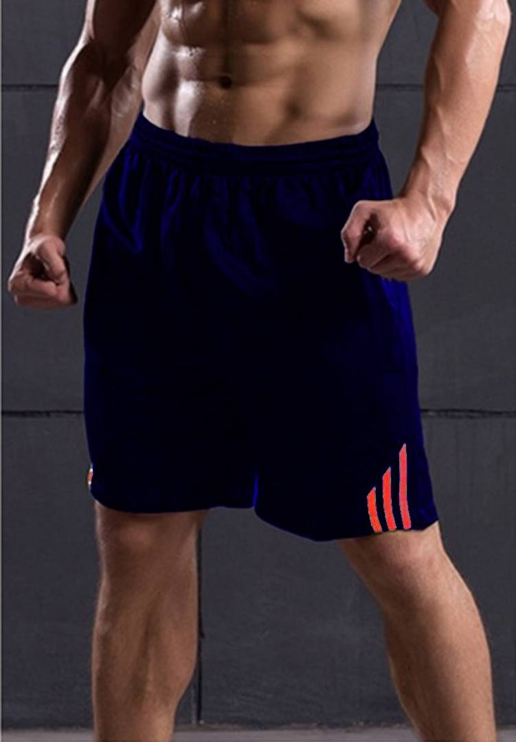 Men Navy Blue Polyester Regular Fit Sports Shorts