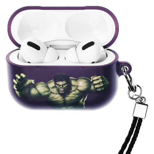 Marvel Avengers AirPods Pro Case Neck Lanyard Hard PC Shell Strap Hole Cover - Action Hulk