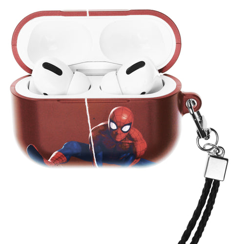 Marvel Avengers AirPods Pro Case Neck Lanyard Hard PC Shell Strap Hole Cover - Action Spider Man