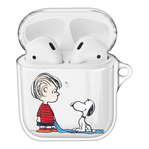 Peanuts Snoopy Compatible with AirPods Case Clear Transparency Hard PC Shell Cute Cover - With Snoopy Linus