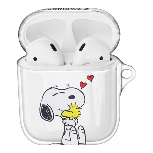 Peanuts Snoopy Compatible with AirPods Case Clear Transparency Hard PC Shell Cute Cover - Happy Snoopy Hug