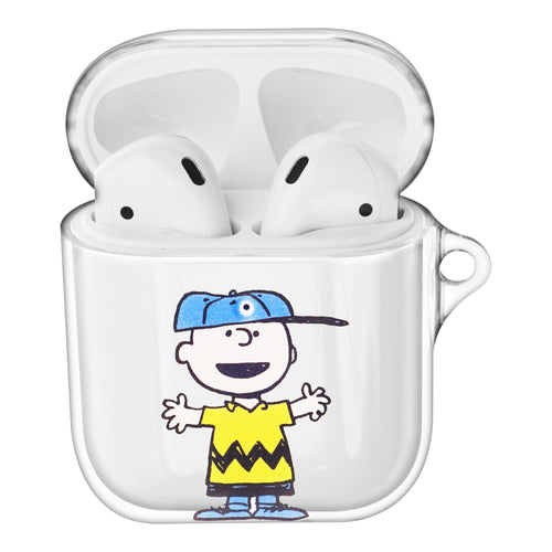 Peanuts Charlie Brown Compatible with AirPods Case Clear Transparency Hard PC Shell Cute Cover - Face Charlie Brown