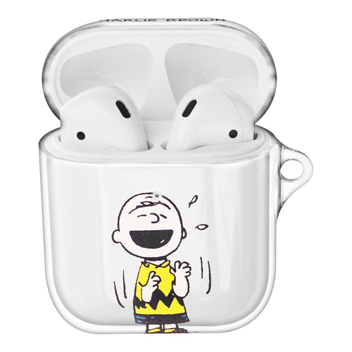 Peanuts Charlie Brown Compatible with AirPods Case Clear Transparency Hard PC Shell Cute Cover - Happy Charlie Brown