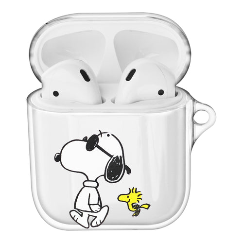 Peanuts Snoopy Compatible with AirPods Case Clear Transparency Hard PC Shell Cute Cover - With Snoopy Woodstock