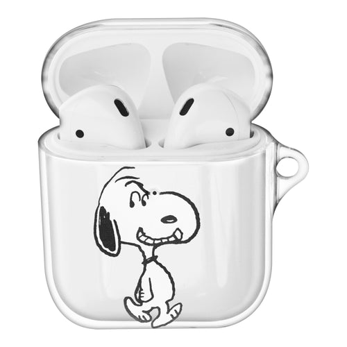 Peanuts Snoopy Compatible with AirPods Case Clear Transparency Hard PC Shell Cute Cover - Face Snoopy