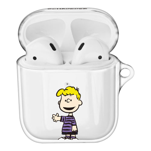 Peanuts Schroeder Compatible with AirPods Case Clear Transparency Hard PC Shell Cute Cover - Happy Schroeder