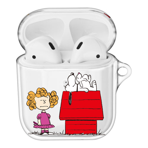 Peanuts Snoopy Compatible with AirPods Case Clear Transparency Hard PC Shell Cute Cover - With Snoopy House