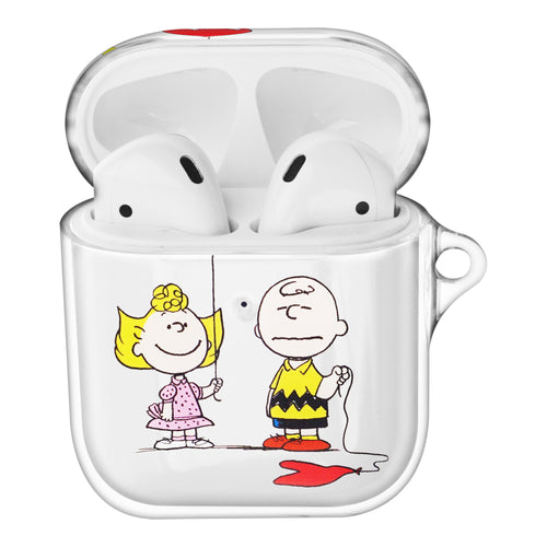 Peanuts Charlie Brown Compatible with AirPods Case Clear Transparency Hard PC Shell Cute Cover - With Charlie Sally