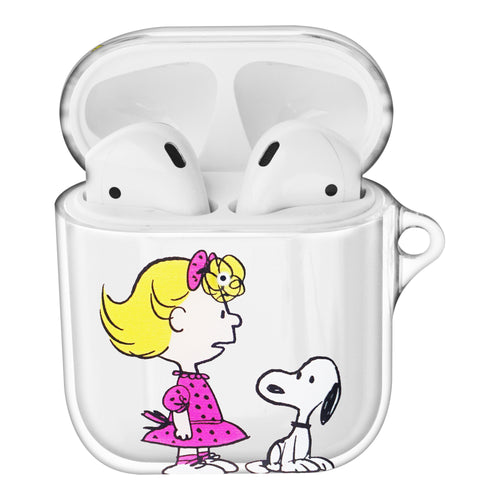 Peanuts Snoopy Compatible with AirPods Case Clear Transparency Hard PC Shell Cute Cover - With Snoopy Sally