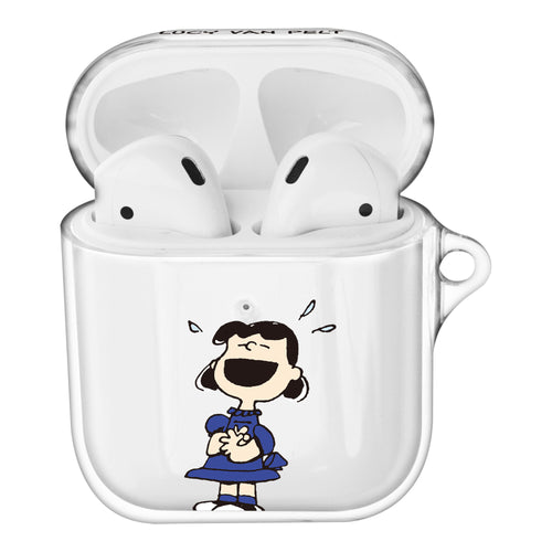 Peanuts Lucy Van Pelt Compatible with AirPods Case Clear Transparency Hard PC Shell Cute Cover - Happy Lucy