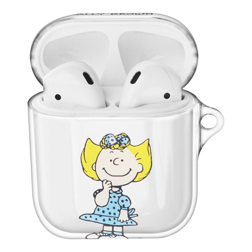 Peanuts Sally Brown Compatible with AirPods Case Clear Transparency Hard PC Shell Cute Cover - Happy Sally