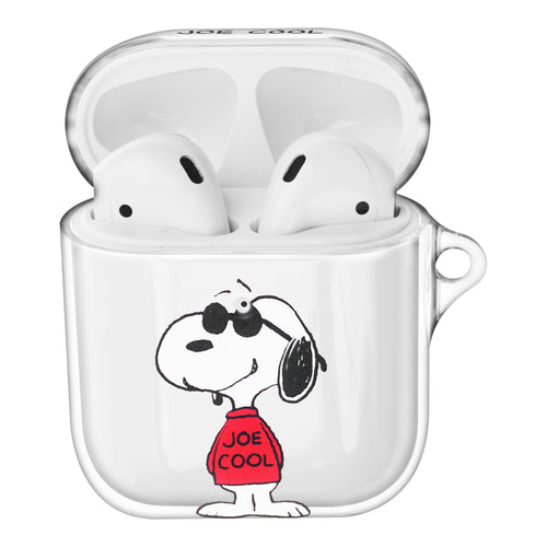 Peanuts Snoopy Compatible with AirPods Case Clear Transparency Hard PC Shell Cute Cover - Happy Snoopy JOE COOL