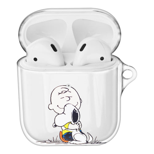 Peanuts Charlie Brown Compatible with AirPods Case Clear Transparency Hard PC Shell Cute Cover - Face Charlie Brown & Snoopy
