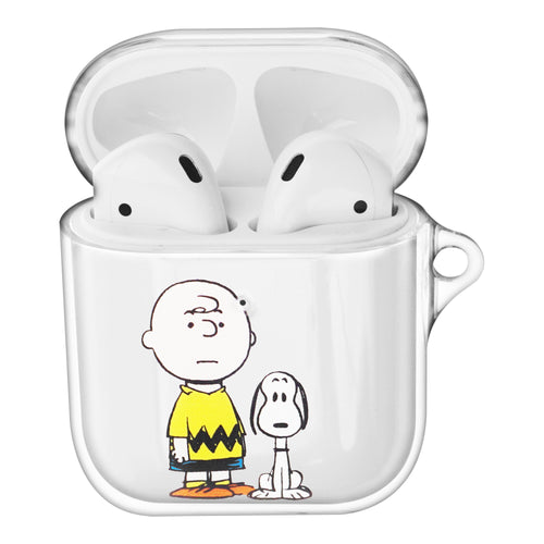 Peanuts Snoopy Compatible with AirPods Case Clear Transparency Hard PC Shell Cute Cover - With Snoopy Charlie