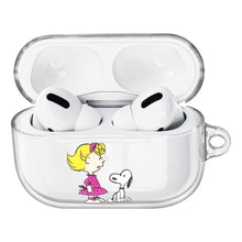 Load image into Gallery viewer, Peanuts Snoopy Compatible with AirPods Pro Case Clear Transparency Hard PC Shell Strap Hole Cover - With Snoopy Sally