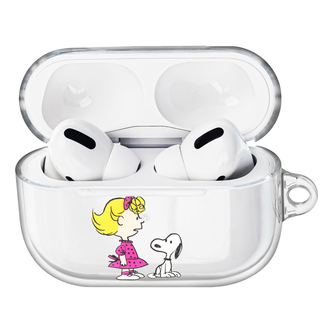 Peanuts Snoopy Compatible with AirPods Pro Case Clear Transparency Hard PC Shell Strap Hole Cover - With Snoopy Sally