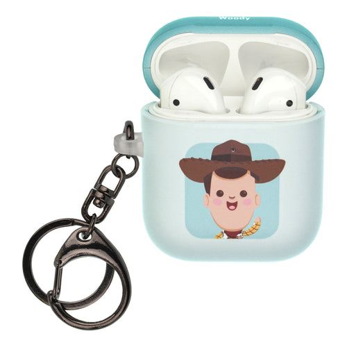 Disney AirPods Case Key Ring Keychain Key Holder Hard PC Shell Strap Hole Cover [Front LED Visible] - Toy Story Baby Woody