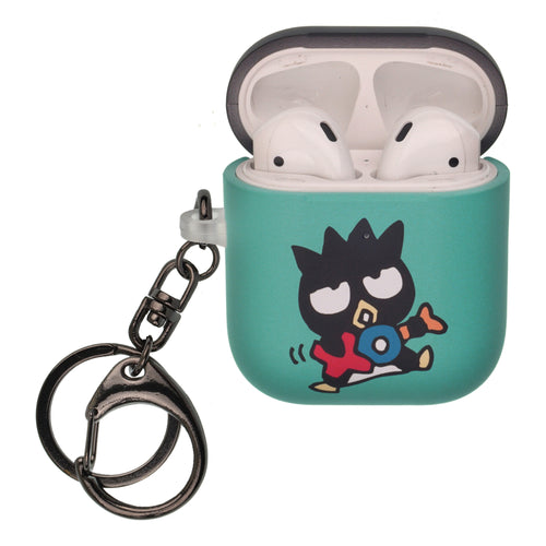 Sanrio AirPods Case Key Ring Keychain Key Holder Hard PC Shell Strap Hole Cover [Front LED Visible] - Bad Badtz-Maru