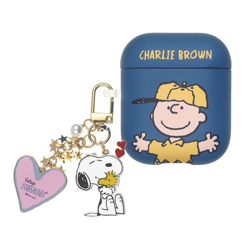 Peanuts AirPods Case Snoopy Key Ring Keychain Key Holder Hard PC Shell Strap Hole Cover - Baseball Charlie Brown