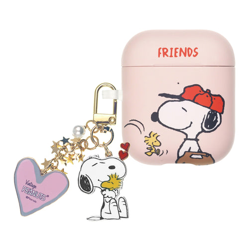 Peanuts AirPods Case Snoopy Key Ring Keychain Key Holder Hard PC Shell Strap Hole Cover - Baseball Friends