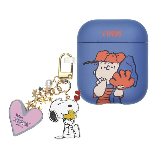 Peanuts AirPods Case Snoopy Key Ring Keychain Key Holder Hard PC Shell Strap Hole Cover - Baseball Linus
