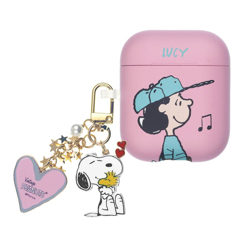 Peanuts AirPods Case Snoopy Key Ring Keychain Key Holder Hard PC Shell Strap Hole Cover - Baseball Lucy