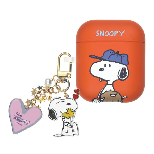 Peanuts AirPods Case Snoopy Key Ring Keychain Key Holder Hard PC Shell Strap Hole Cover - Baseball Snoopy