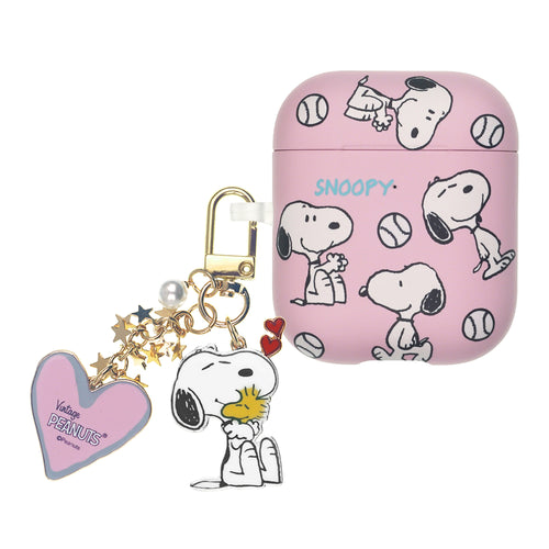 Peanuts AirPods Case Snoopy Key Ring Keychain Key Holder Hard PC Shell Strap Hole Cover - Baseball Snoopy Pattern