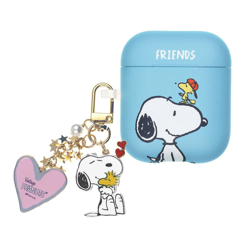 Peanuts AirPods Case Snoopy Key Ring Keychain Key Holder Hard PC Shell Strap Hole Cover - Baseball Woodstock