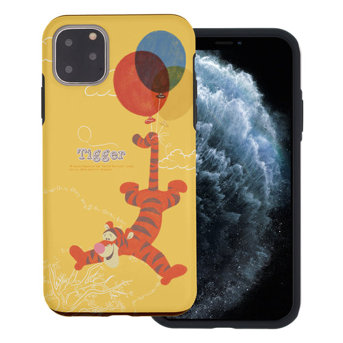 iPhone 11 Pro Max Case (6.5inch) Disney Pooh Layered Hybrid [TPU + PC] Bumper Cover - Balloon Tigger