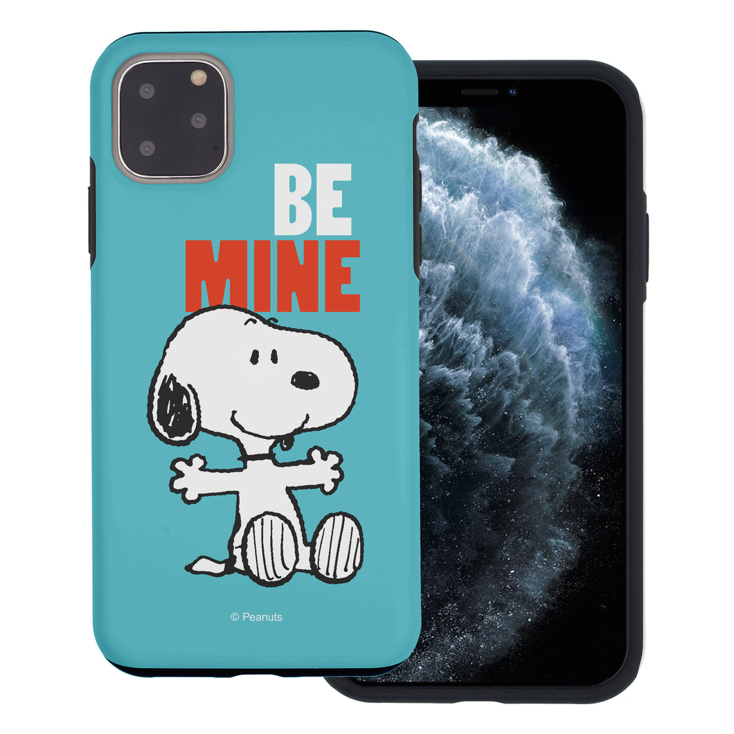 iPhone 12 mini Case (5.4inch) PEANUTS Layered Hybrid [TPU + PC] Bumper Cover - Snoopy Be Mine Cyan